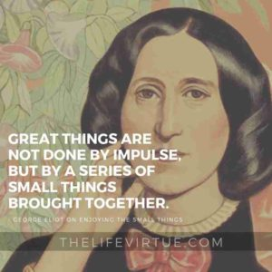 Great things are not done by impulse, but by a series of small things brought together. - George Eliot
