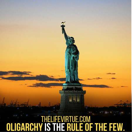Oligarchy means the rule of the few.
